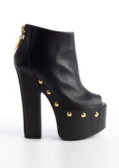 Giuseppe Zanotti black studded leather peep toe zip back platforms