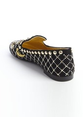 Giuseppe Zanotti black suede jewel and brass studded flats
