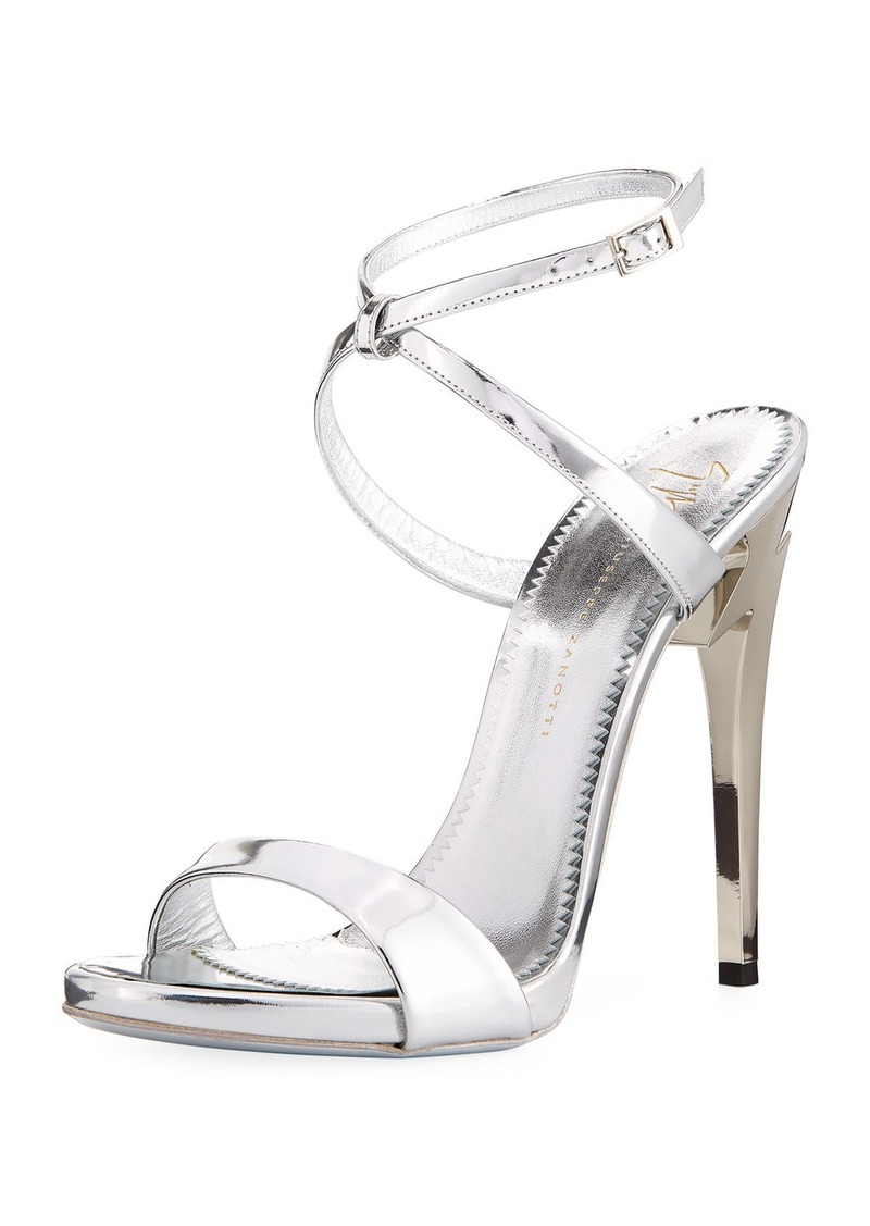Giuseppe Zanotti Bolt-Heel Metallic Leather Ankle-Wrap Sandal