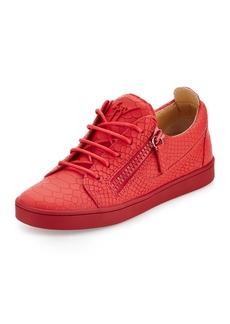 Giuseppe Zanotti Breks Snake-Embossed Side-Zip Sneaker