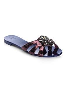 Giuseppe Zanotti Brooch Ornament Melazana Leather Slide Sandals