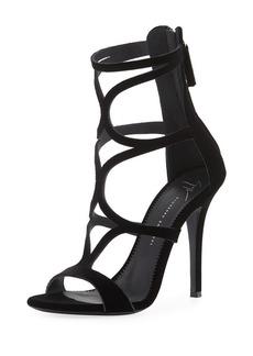 Giuseppe Zanotti Caged Velvet High Sandals