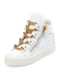 Giuseppe Zanotti Chain Leather Mid-Top Sneaker