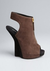 Giuseppe Zanotti coffee and black suede zip front cutout heel kitten wedge booties