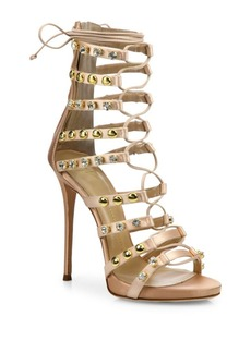 Coline Studded Silk Lace-Up Sandals