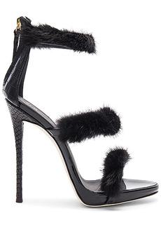Giuseppe Zanotti Coline Mink Fur Heel in Black. - size 36 (also in 37)