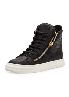 Giuseppe Zanotti Crocodile-Embossed High-Top Sneaker