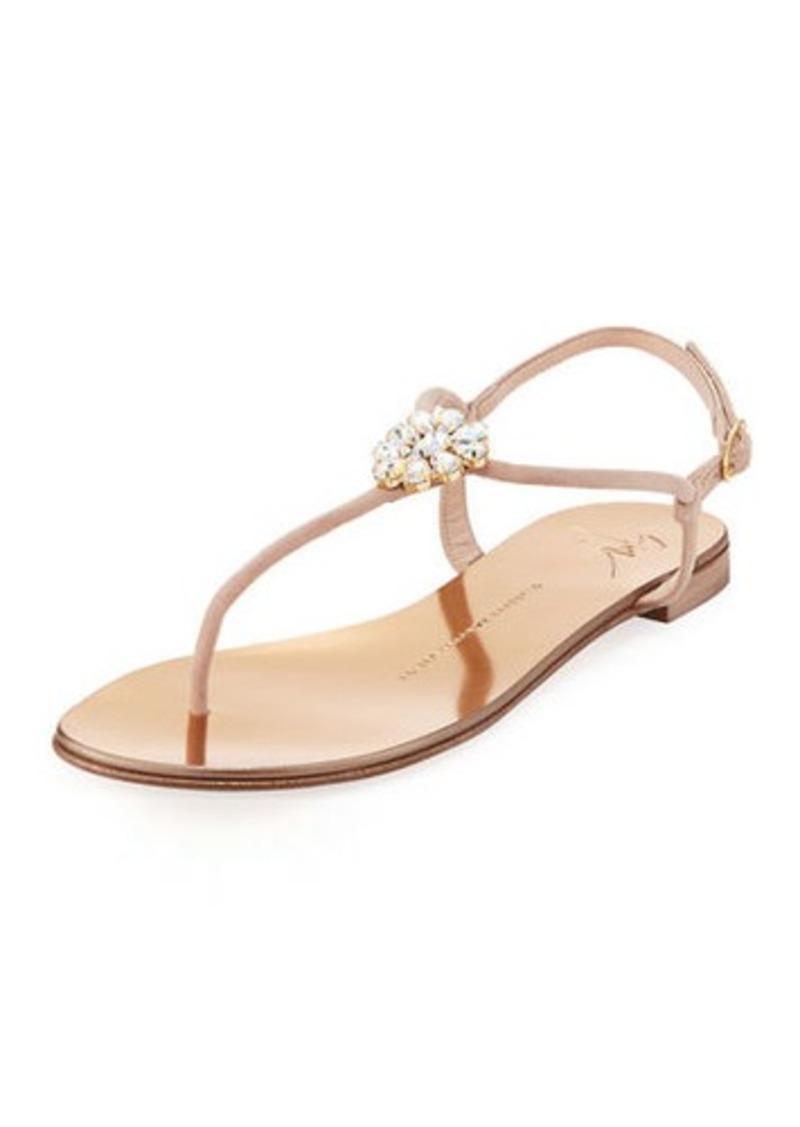 b8646d1aa5233 Giuseppe Zanotti Crystal-Embellished Flat Thong Sandals | Shoes