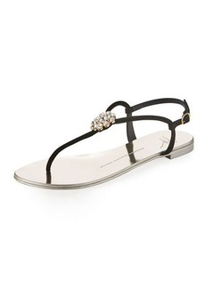 Giuseppe Zanotti Crystal-Embellished Flat Thong Sandal