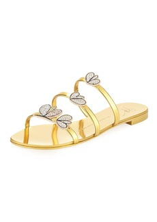 Giuseppe Zanotti Crystal-Embellished Metallic Three-Strap Slide Sandal