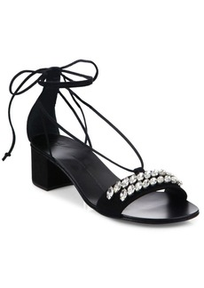Giuseppe Zanotti Crystal-Embellished Suede Ankle-Tie Block-Heel Sandals