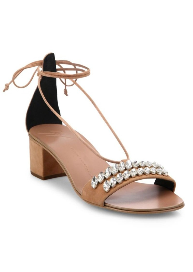 ba2d0a45bc2 Crystal-Embellished Suede Ankle-Tie Block-Heel Sandals. Giuseppe Zanotti