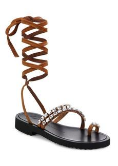 Giuseppe Zanotti Crystal-Embellished Suede Lace-Up Sandals
