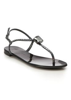 Giuseppe Zanotti Crystal Metallic Snake-Embossed Leather Sandals