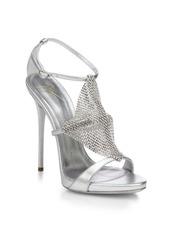 Giuseppe Zanotti Crystal-Paneled Metallic Leather Sandals