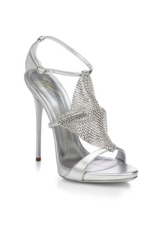 Giuseppe Zanotti Crystal-Paneled Metallic Leather Sandals