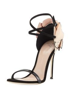 Giuseppe Zanotti Crystal Petal-Embellished Ankle-Wrap Sandal