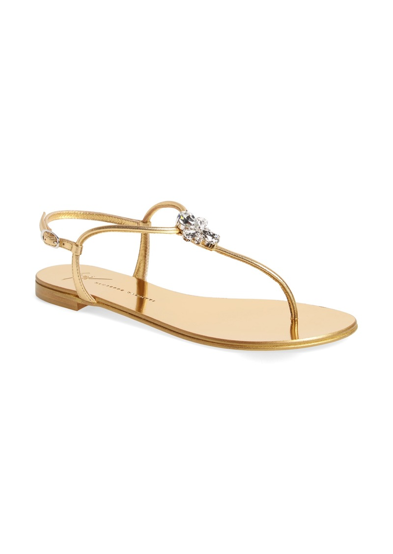 Giuseppe Zanotti Crystal T-Strap Sandal (Women)