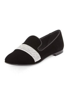Giuseppe Zanotti Dalila Crystal-Band Velvet Smoking Slipper
