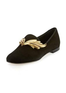 Giuseppe Zanotti Dalila Wings Suede Smoking Slipper