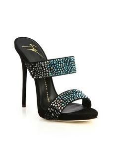 Giuseppe Zanotti Degradé Crystal-Embellished Suede Mule Sandals