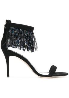 Giuseppe Zanotti Design beaded fringe mid heel sandal - Black