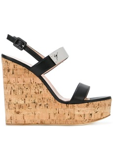Giuseppe Zanotti Design cork wedge sandals - Black