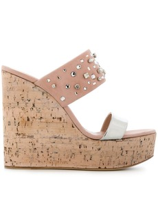 Giuseppe Zanotti Design cork wedge sandals - Pink & Purple