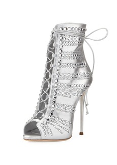 Giuseppe Zanotti Embellished Metallic Leather Peep-Toe Bootie