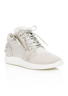Giuseppe Zanotti Embellished Satin and Suede Mid Top Sneakers - 100% Exclusive