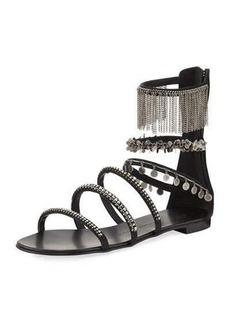 Giuseppe Zanotti Embellished Satin Gladiator Sandal