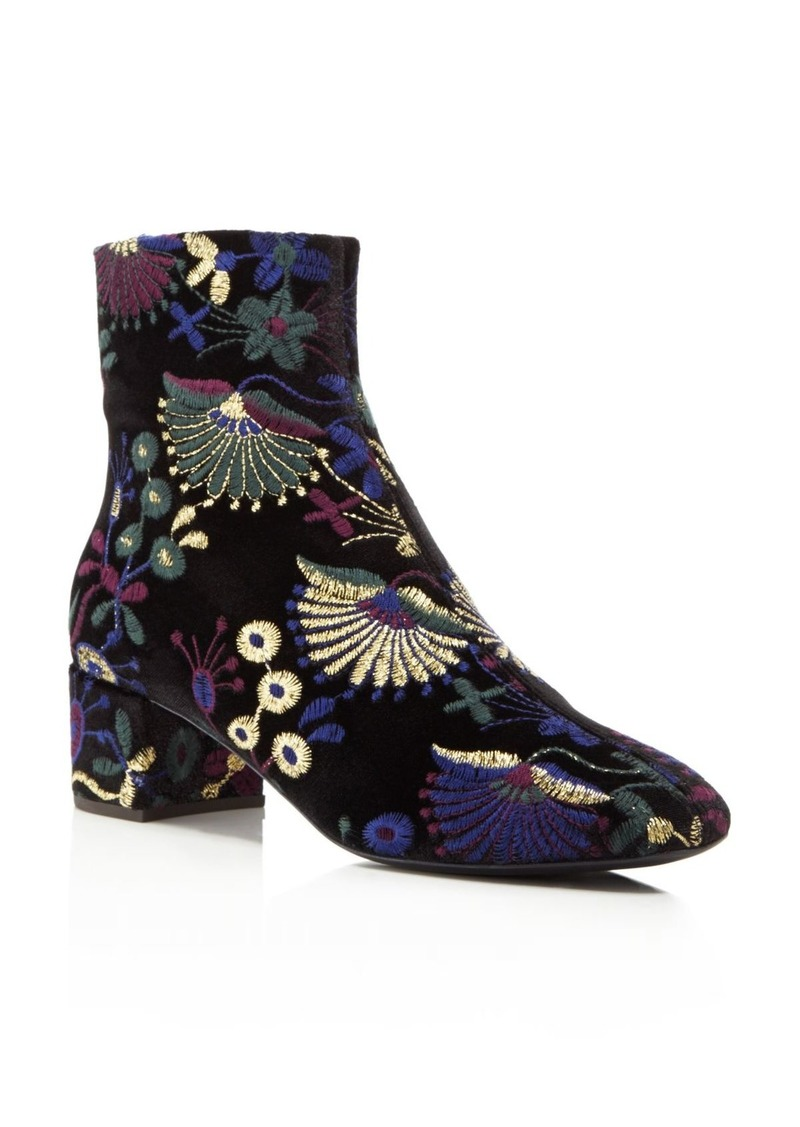 Giuseppe Zanotti Embroidered Velvet Block Heel Booties - 100% Exclusive HG7q7
