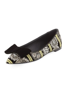 Giuseppe Zanotti Embroidered Velvet Point-Toe Flat