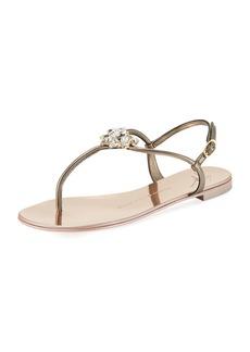 Giuseppe Zanotti Flat Embellished Metallic Leather Sandal