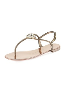 Giuseppe Zanotti Flat Embellished Metallic Leather Sandal