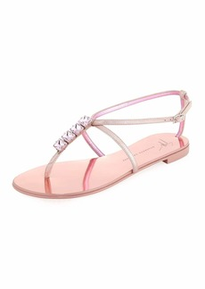Giuseppe Zanotti Flat Jeweled Metallic Leather Thong Sandal
