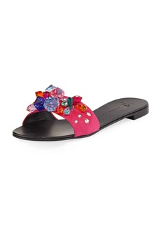 Flat Jeweled Satin Slide Sandal
