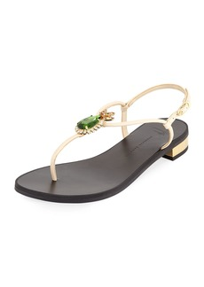 Giuseppe Zanotti Flat Metallic Leather Thong Sandal with Pineapple Jewel