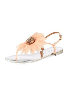 Giuseppe Zanotti Flat Thong Sandal with Jeweled Flower