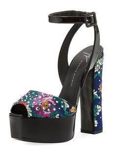 Giuseppe Zanotti Floral-Jacquard Stud Platform Sandal