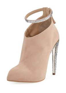 Giuseppe Zanotti for Jennifer Lopez Frida Suede & Crystal Ankle-Strap 120mm Bootie