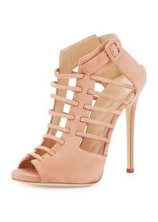Giuseppe Zanotti for Jennifer Lopez Jen Caged Suede Peep-Toe 120mm Bootie