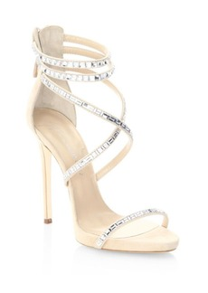 Giuseppe Zanotti Giuseppe for Jennifer Lopez 120 Crystal-Embellished Suede Sandals