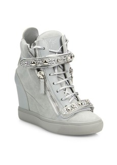 Giuseppe Zanotti Giuseppe for Jennifer Lopez 75 Double-Zip Crystal-Strap Suede Wedge Sneakers