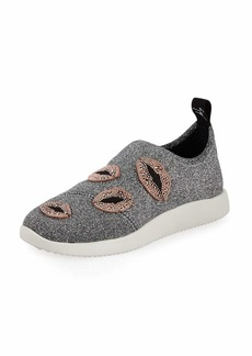 Glitter Stretch Trainer Sneaker with Lips