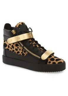 Giuseppe Zanotti Gold Bar Genuine Calf Hair Sneaker (Men)