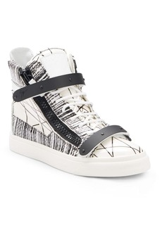 Giuseppe Zanotti Graphic Leather Lace-Up High-Top Sneakers