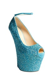 Giuseppe Zanotti green crystal covered leather high platform heels