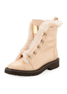 Giuseppe Zanotti Hilary Fur-Lined Leather Boot with Crystals