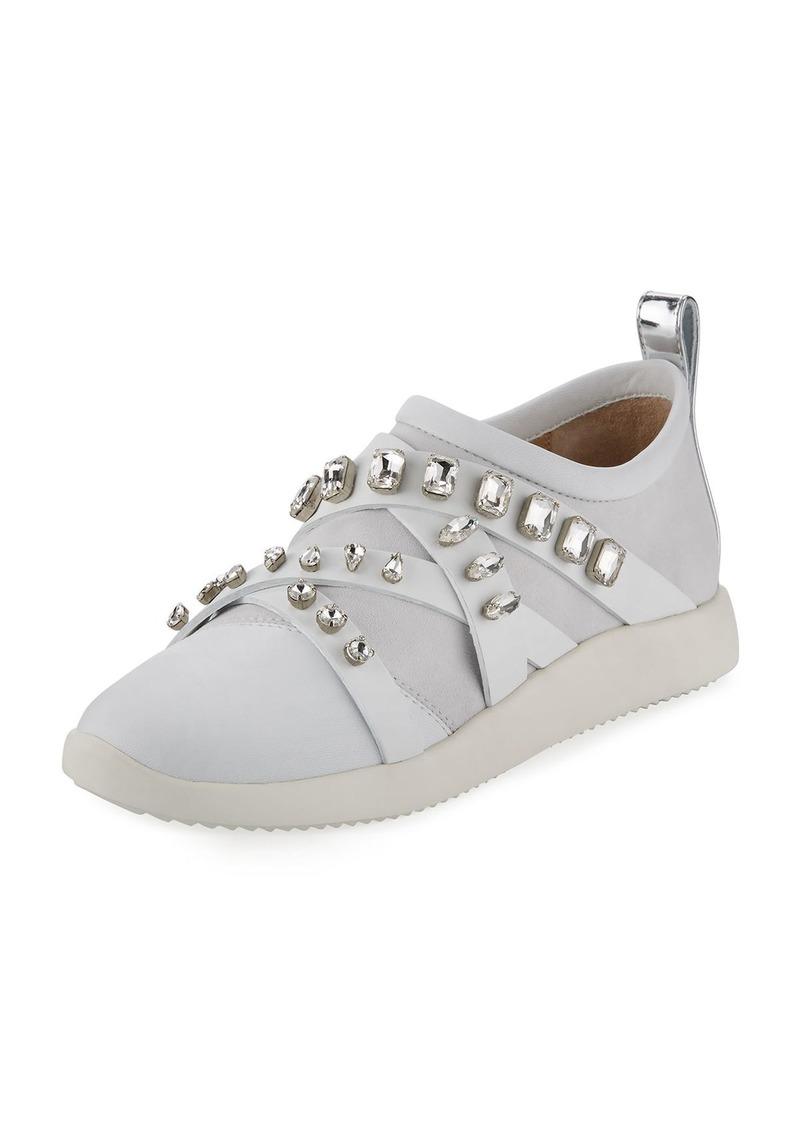 Giuseppe Zanotti Jeweled Leather/Suede Slip-On Sneaker